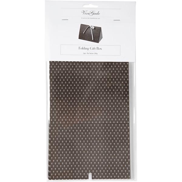 Boîte cadeau à plier - 15 x 7 x 8 cm - Noir ancres blanches - 3 pcs - Photo n°2