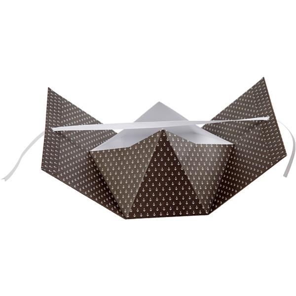 Boîte cadeau à plier - 15 x 7 x 8 cm - Noir ancres blanches - 3 pcs - Photo n°3