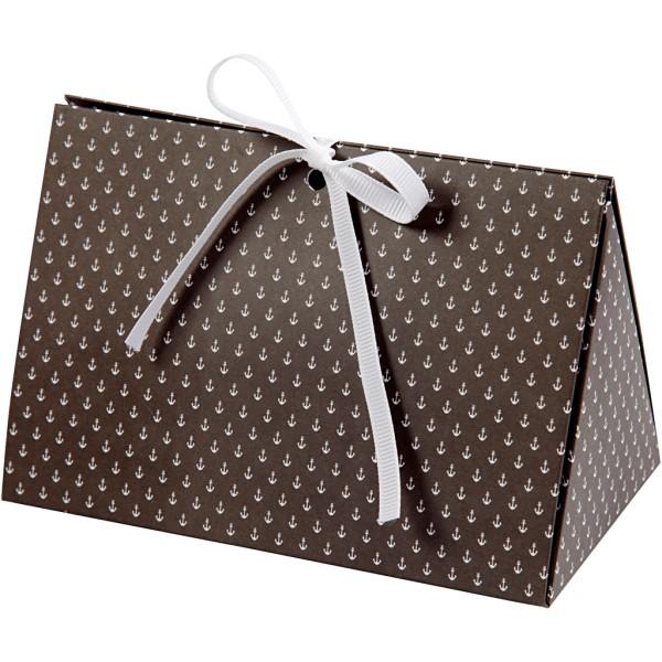 Boîte cadeau à plier - 15 x 7 x 8 cm - Noir ancres blanches - 3 pcs - Photo n°1