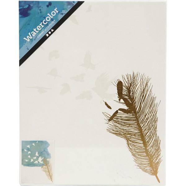 Toile imprimée pour aquarelle - Motif doré et vernis blanc - 20,3 x 25,4 cm - Photo n°2