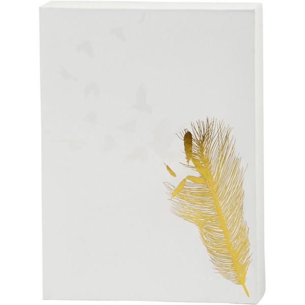 Toile imprimée pour aquarelle - Motif doré et vernis blanc - 20,3 x 25,4 cm - Photo n°1