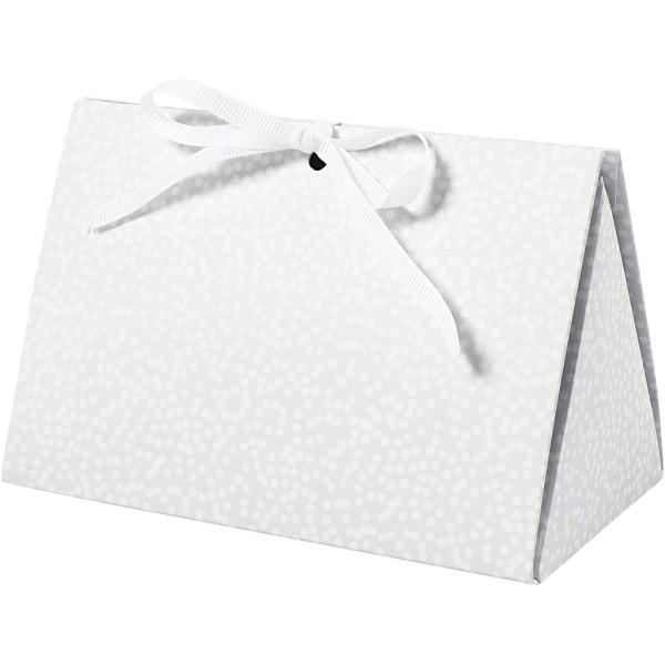 Boite cadeau - Gris et pois blancs - 15 x 8 x 7 cm - 3 pcs - Photo n°1