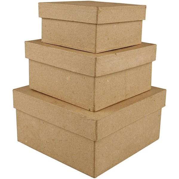 Set de boîtes en papier mâché à décorer - 10 à 15 cm - 3 pcs - Photo n°1
