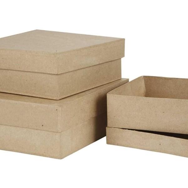Set de boîtes en papier mâché à décorer - 16 à 20 cm - 3 pcs - Photo n°1