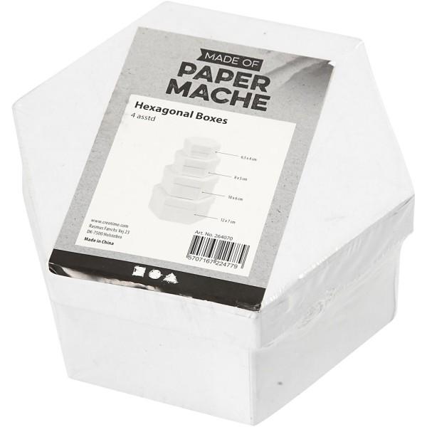 Set de boîtes hexagonales en carton blanc à décorer - 6,5 à 12 cm - 4 pcs - Photo n°2