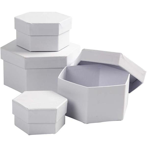 Set de boîtes hexagonales en carton blanc à décorer - 6,5 à 12 cm - 4 pcs - Photo n°1