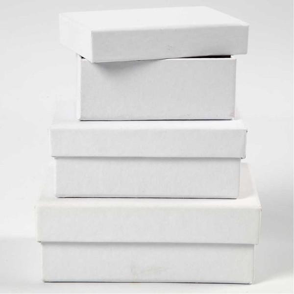 Boîtes Rectangulaires, L: 8,5+10+12 Cm, L: 6+7+9 Cm, Blanc, 18Pièces, H: 4,5 Cm - Photo n°1