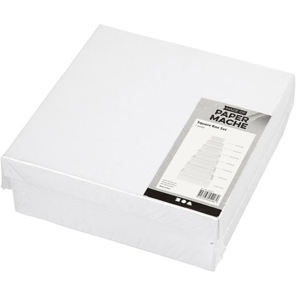 Set de boîtes carrés en carton blanc à décorer - 9 à 21 cm - 7 pcs - Photo n°2