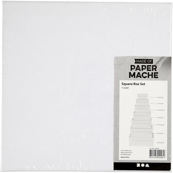 Set de boîtes carrés en carton blanc à décorer - 9 à 21 cm - 7 pcs - Photo n°3
