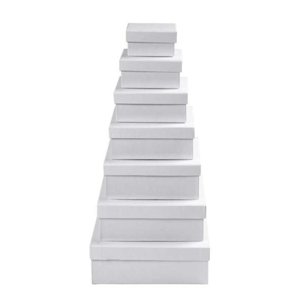 Set de boîtes carrés en carton blanc à décorer - 9 à 21 cm - 7 pcs - Photo n°1