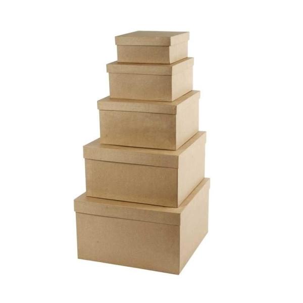 Set de boîtes en papier mâché à décorer - 15,5 à 35,5 cm - 5 pcs - Photo n°1