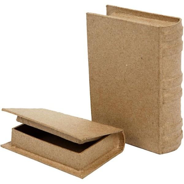 Set de boîtes livres en papier mâché à décorer - 9 à 11,5 cm - Photo n°1