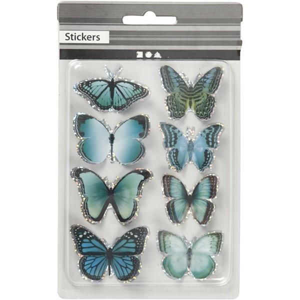 Autocollants 3D - Papillons Bleus - 8 pcs - Photo n°2