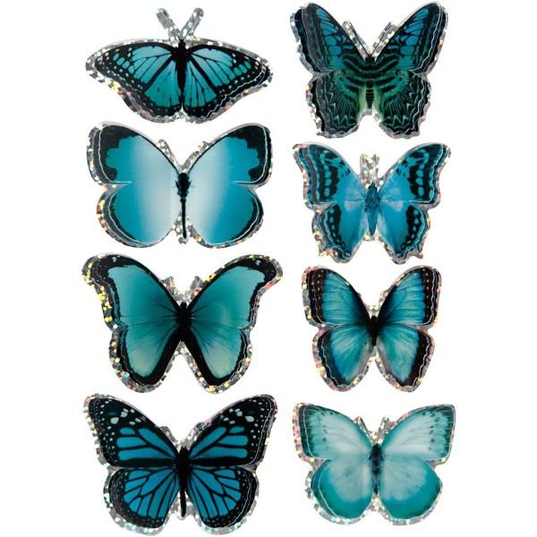 Autocollants 3D - Papillons Bleus - 8 pcs - Photo n°1