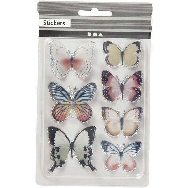 Autocollants 3D - Papillons Pastel - 7 pcs - Photo n°2