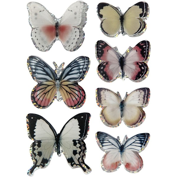 Autocollants 3D - Papillons Pastel - 7 pcs - Photo n°1