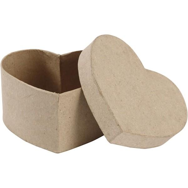 Boîte coeur en papier mâché à décorer   11,5 x 6 cm   1 pce - Photo n°1