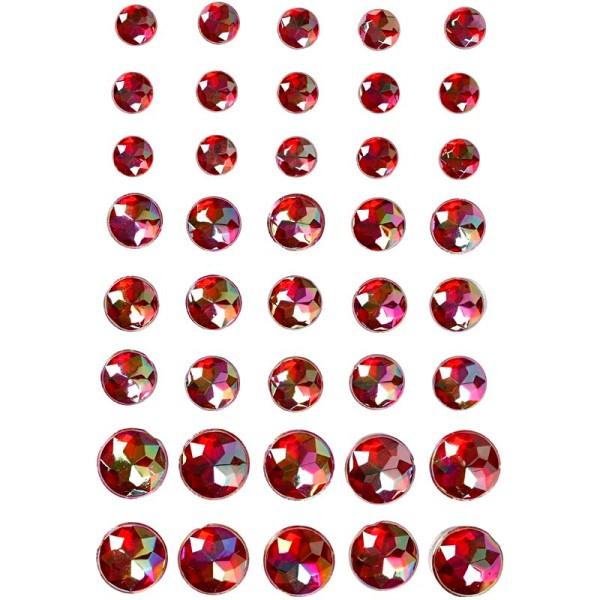 Strass adhésifs - 6/8/10 mm - Rouge - Photo n°1