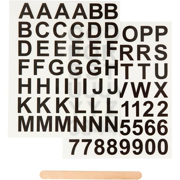 Décalcomanies - Chiffres et lettres - 2 planches de 12,2 x 15,3 cm - Photo n°1