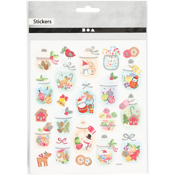 Stickers pailletés - Bocaux de Noël - 22 pcs - Photo n°2
