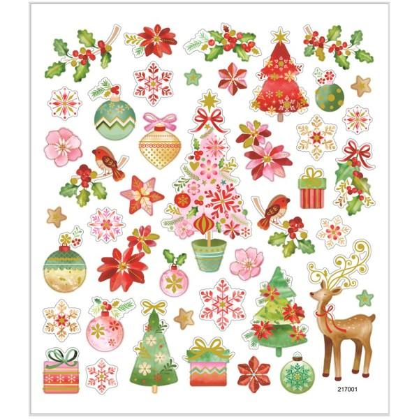 Stickers pailletés - Noël romantique - 43 pcs - Photo n°1