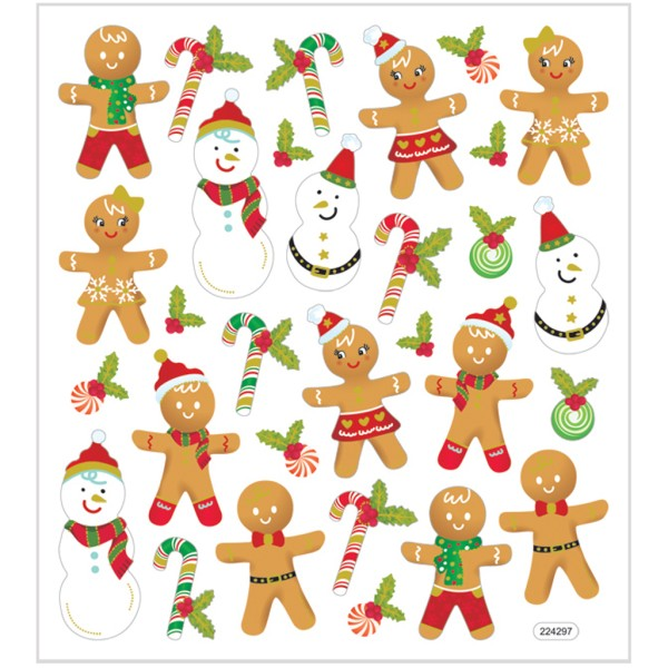 Stickers pailletés - Personnages de Noël - 30 pcs - Photo n°1