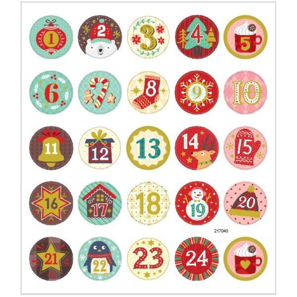 Stickers pailletés - Calendrier de l'avent - 25 pcs - Photo n°1