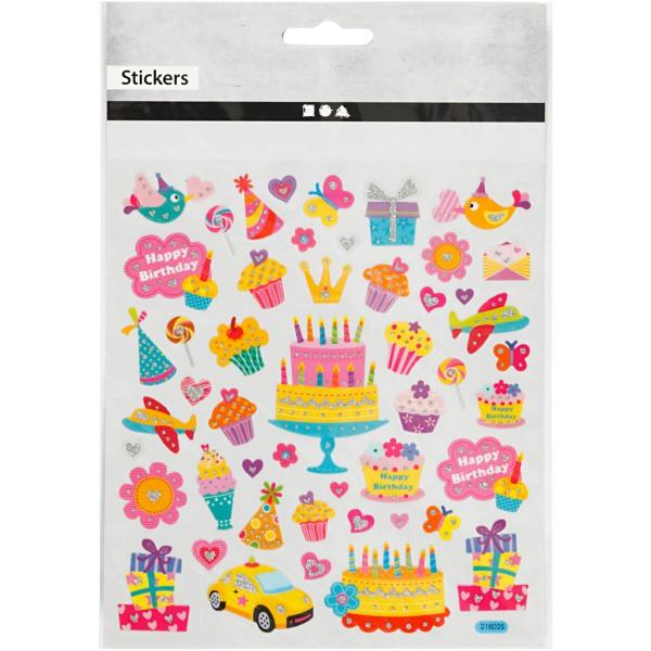 Stickers plastifiés - Anniversaire - Détails pailletés - 49 pcs - Photo n°2