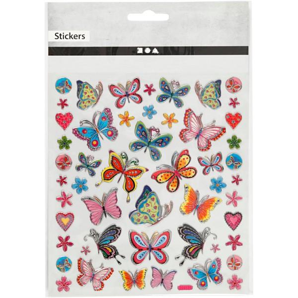Stickers plastifiés - Papillons et fleurs - Détails argentés - 21 pcs - Photo n°2