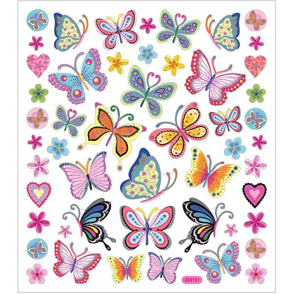 Stickers plastifiés - Papillons et fleurs - Détails argentés - 21 pcs - Photo n°1