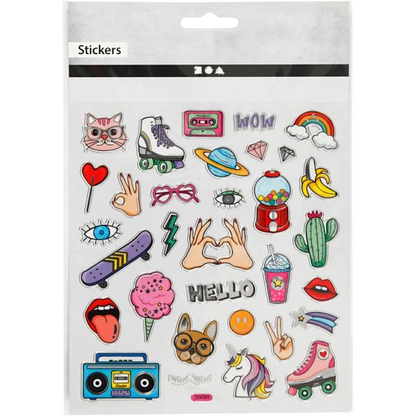 Stickers plastifiés - Girl power - Détails argentés - 32 pcs - Photo n°2