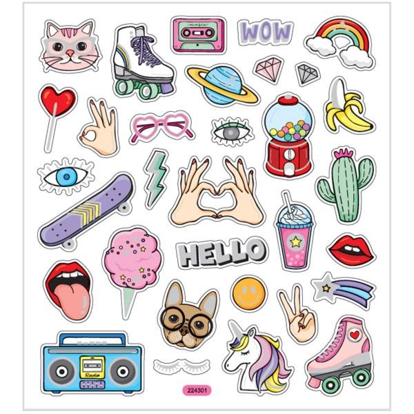 Stickers plastifiés - Girl power - Détails argentés - 32 pcs - Photo n°1