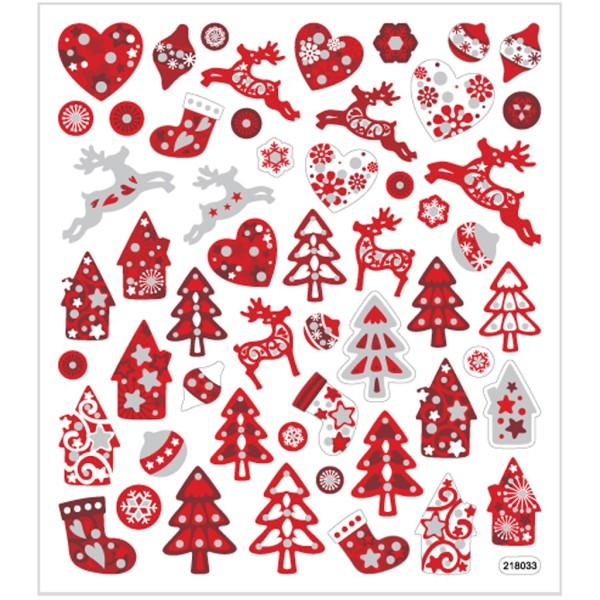 Stickers pailletés - Noël rouge - 54 pcs - Photo n°1