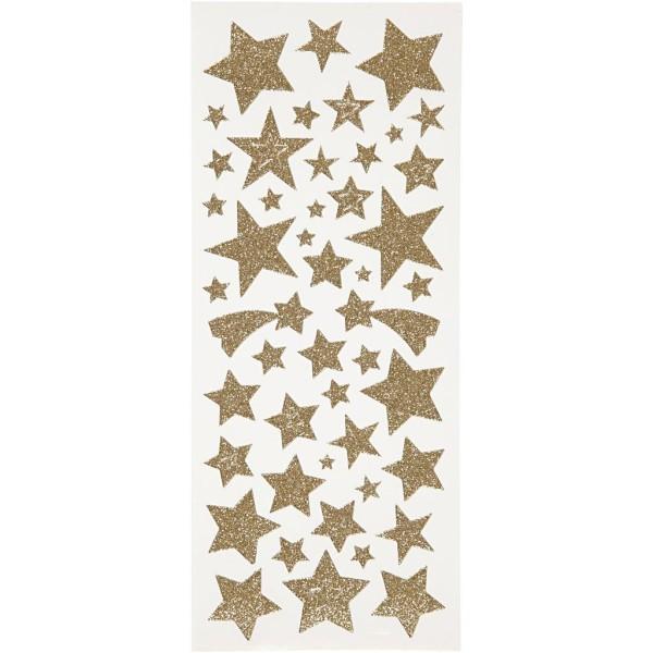 Stickers pailletés - Étoiles dorées - 110 pcs - Photo n°1