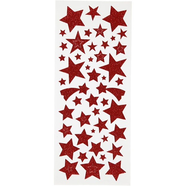 Stickers pailletés - Étoiles rouges - 110 pcs - Photo n°1