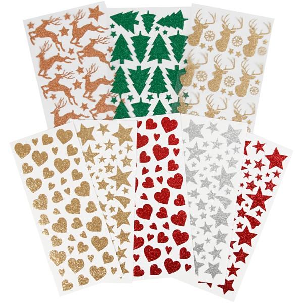 Set de stickers pailletés - 8 feuilles - env. 579 pcs - Photo n°1