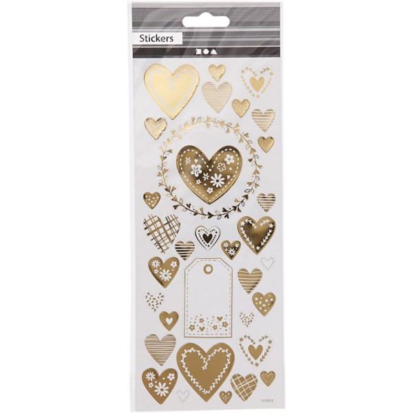 Stickers fantaisie dorés - Coeurs - 33 pcs - Photo n°2