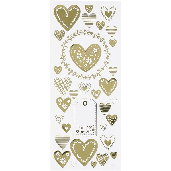 Stickers fantaisie dorés - Coeurs - 33 pcs - Photo n°1