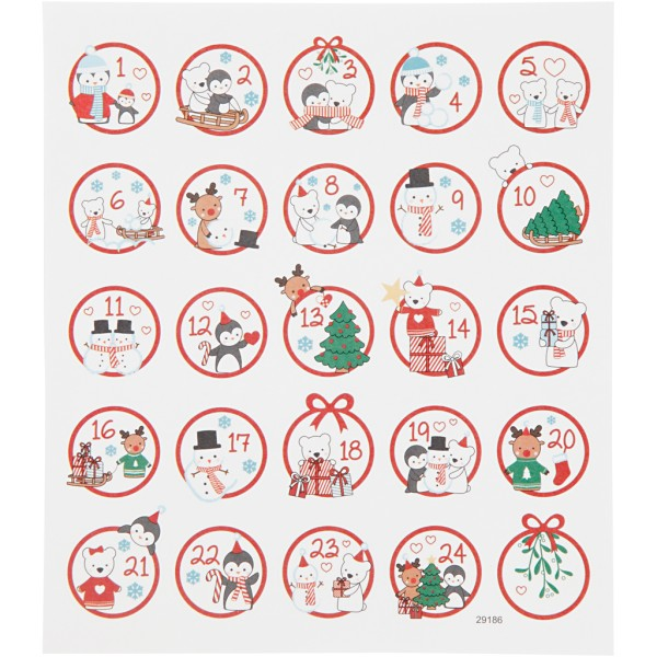 Stickers fantaisies - Calendrier de l'avent - 25 pcs - Photo n°1