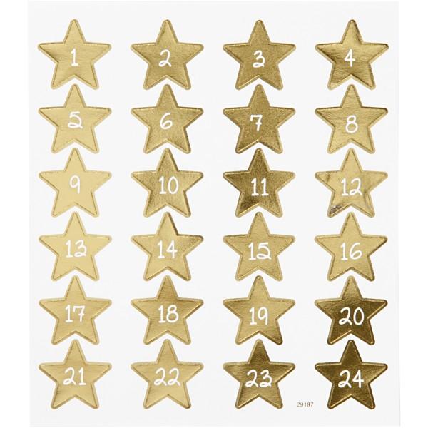 Stickers fantaisies - Étoiles numérotées - 24 pcs - Photo n°1