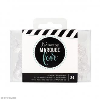 Capuchons d'ampoules à facettes Marquee Love -Transparents - Diamètre 1,7 cm