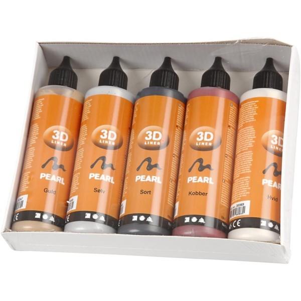 Lot peinture 3D 100 ml - Couleurs nacrées - 5 pots - Photo n°2