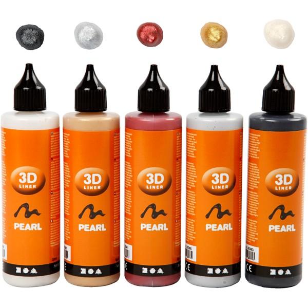 Lot peinture 3D 100 ml - Couleurs nacrées - 5 pots - Photo n°1