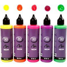 Set de peinture 3D 100 ml - Couleurs néon - 5 pots