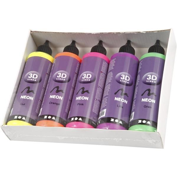 Lot peinture 3D 100 ml - Couleurs fluo - 5 pots - Photo n°2