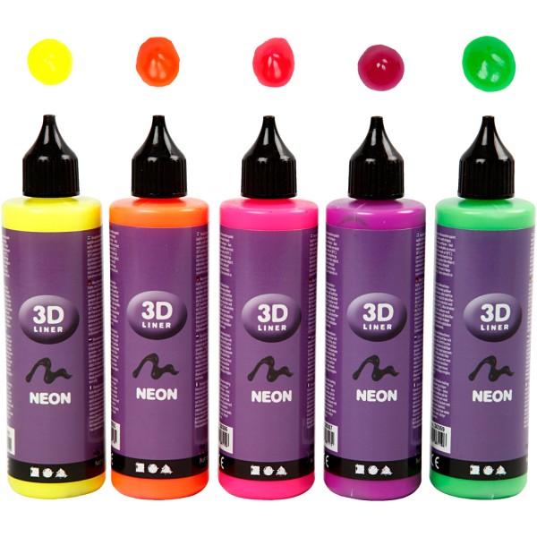 Lot peinture 3D 100 ml - Couleurs fluo - 5 pots - Photo n°1