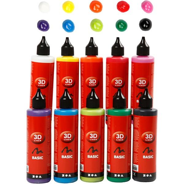 Lot peinture 3D 100 ml - Multicolore - 10 pots - Photo n°1
