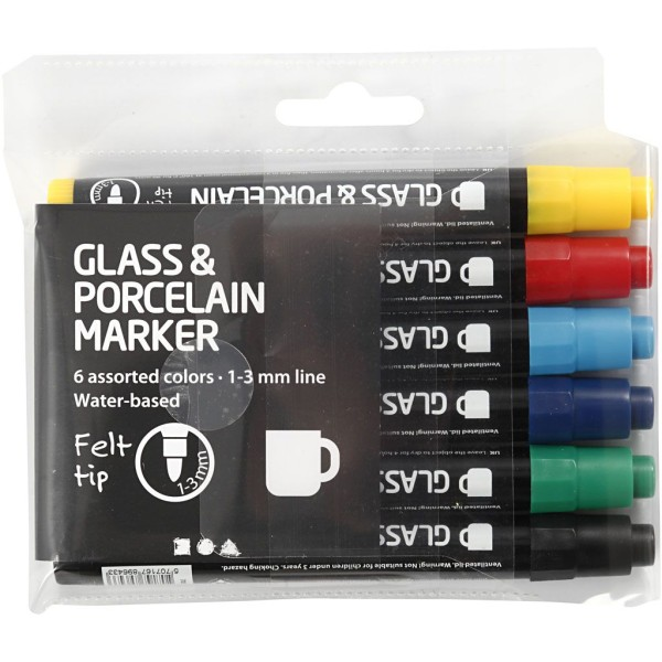 Lot de feutres pour verre et porcelaine - Couleurs classiques semi opaque - 1 à 3 mm - 6 pcs - Photo n°2