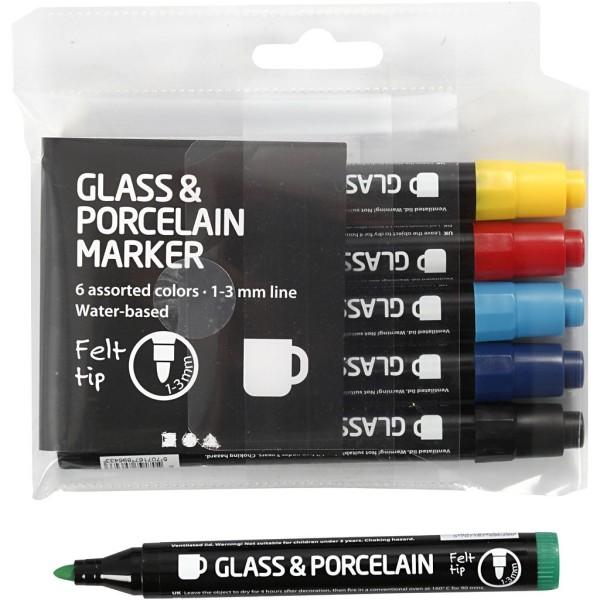Lot de feutres pour verre et porcelaine - Couleurs classiques semi opaque - 1 à 3 mm - 6 pcs - Photo n°1