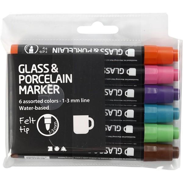 Lot de feutres pour verre et porcelaine - Couleurs extra semi opaque - 1 à 3 mm - 6 pcs - Photo n°2
